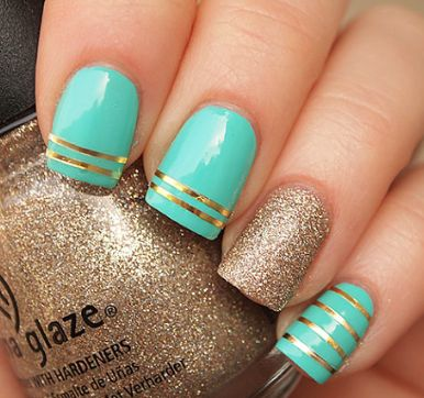 cute gold and mint nails!