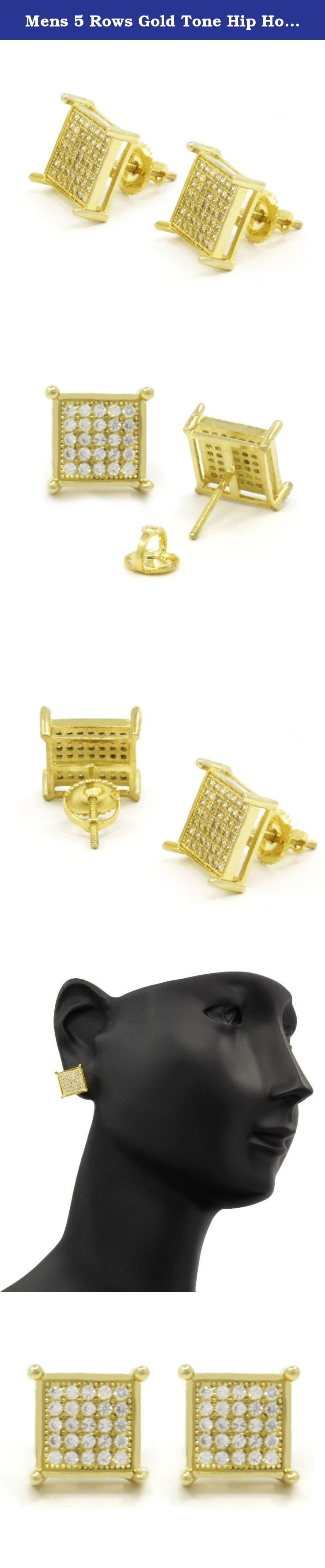 Mens 5 Rows Gold Tone Hip Hop Micro Pave TC Stud Screw Backs Earrings TC5. 8MM GOLD TONE 5 CRYSTAL LINES/ROWS EARRINGS. Top Quality CZ Screw Back Post Earrings. Earring Dimensions: (Length/Width) 8mm x 8mm. Attention: Please keep in mind that this item is not Real Gold.