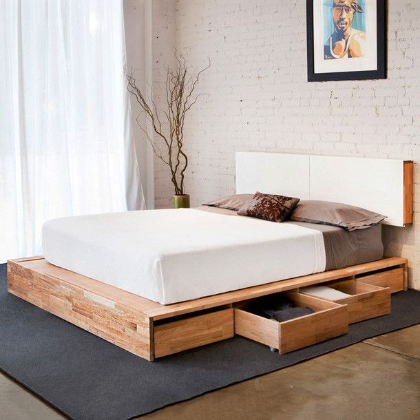 Platform bed with storage underneath. Matching floating headboard (I think this would only work when you're single. I can't imagine that being comfortable with another person)