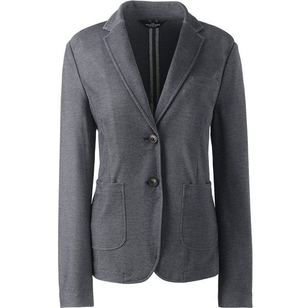 Lands' End Women's Plus Twill Ponte Blazer ($124) ❤ liked on Polyvore featuring outerwear, jackets, blazers, black, women's plus size jackets, blazer jacket, draped blazer, womens plus jackets and womens plus blazer