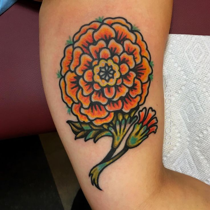 traditional marigold tattoo pictures to pin on pinterest tattooskid. Black Bedroom Furniture Sets. Home Design Ideas