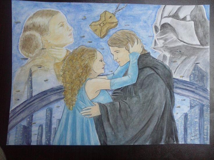 Dibujo de Anakin y Padme que hice con acuarelas.
