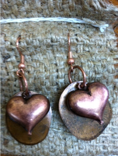 Copper heart earrings Valentine's Day by LincolnsGranny on Etsy, $15.00