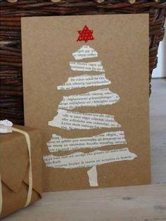 Weihnachtskarte mit Zeitungsschnipsel