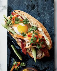 Breakfast Banh Mi Sandwiches. This outstanding Vietnamese banh mi includes duck pâté and spicy pickles along with, less conventionally, five-spice-flavored bacon and a fried egg.