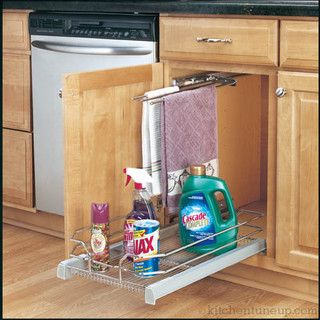 under-the-sink pull-out tray for cleaners.