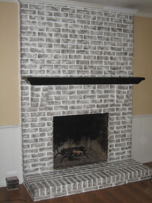 Brick Fireplace Brick Fireplace Had Been Painted Metallic Orange By Previous Owner