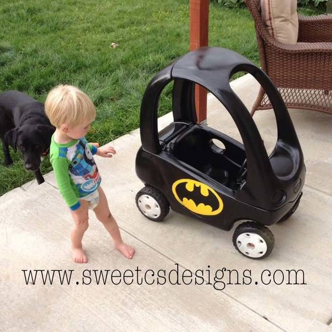 """Your toddler will love this Bat Mobile toy car. See the step-by-step instructions <a href=""""http://sweetcsdesigns.com/batmobile-cozy-coupe-refashion/"""">here</a>."""