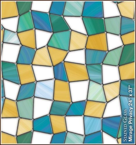 MIRAGE-Privacy-Stained-Glass-Static-Cling-Window-Film-Blue-Yellow-Green-Decor