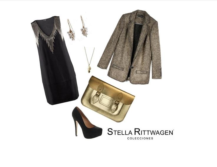 Para este frío, utilizando bolso satchel dorado de Stella Rittwagen