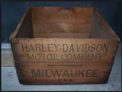 Rare 1920s Harley Davidson Antique Wood Shipping Crate Box