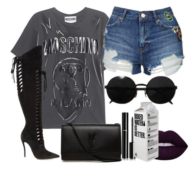 """""""Untitled #1428"""" by beaukastin ❤ liked on Polyvore featuring Moschino, Versace, Topshop, Lime Crime, Yves Saint Laurent and Chanel"""