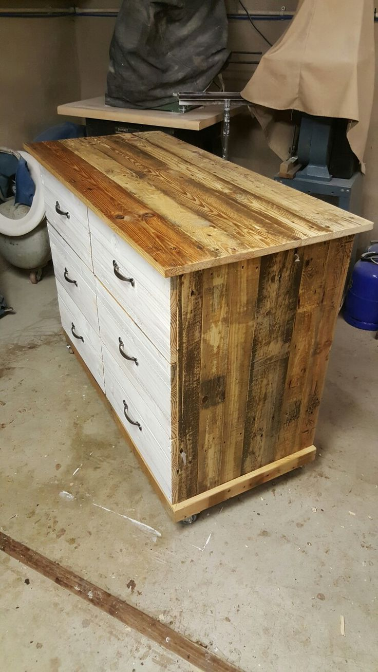 Chest of drawers made from pallets.