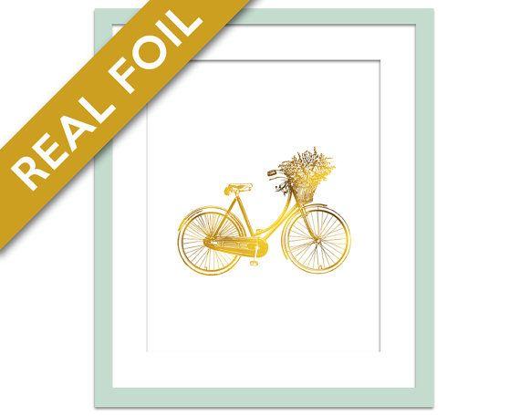 Vintage Bicycle Art Print - Gold Foil Print - Gold Foil Bike Poster - Bike Art - Gold Baby Room Decor - Gold Bicycle Art - Gold Nursery Art