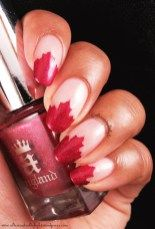 Canada Day French Tip Mani 6/6  #nail #nailart #frenchtip #frenchmani #canadaday #whatsupnails #nailvinyl #nailstencil #mapleleaf #shimmer