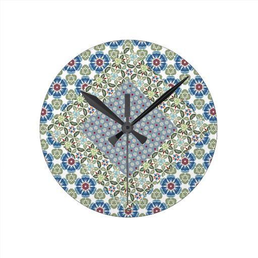 Patchwork Floral Pattern Round Wallclocks