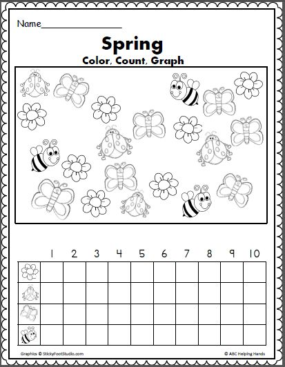 Spring Color Count and Graph Math Activity