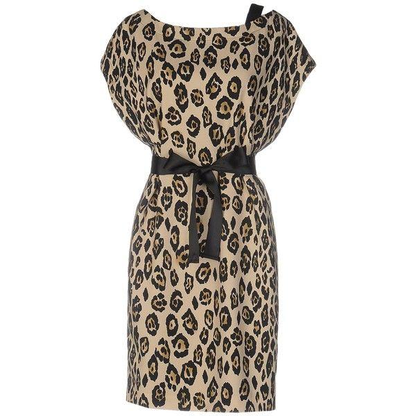 Who*s Who Short Dress (23.800 RUB) ❤ liked on Polyvore featuring dresses, beige, mini dress, leopard mini dress, short sleeve mini dress, beige short dress and beige dress