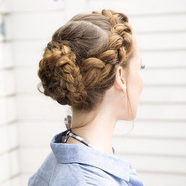 Thick Side Braid with a Braided Rose Bun in the Back