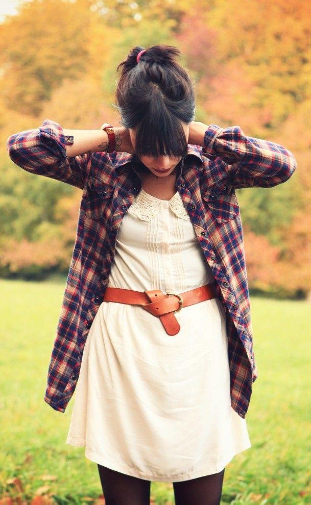 white dress, belt, plaid button-down @ et pourquoi pas coline