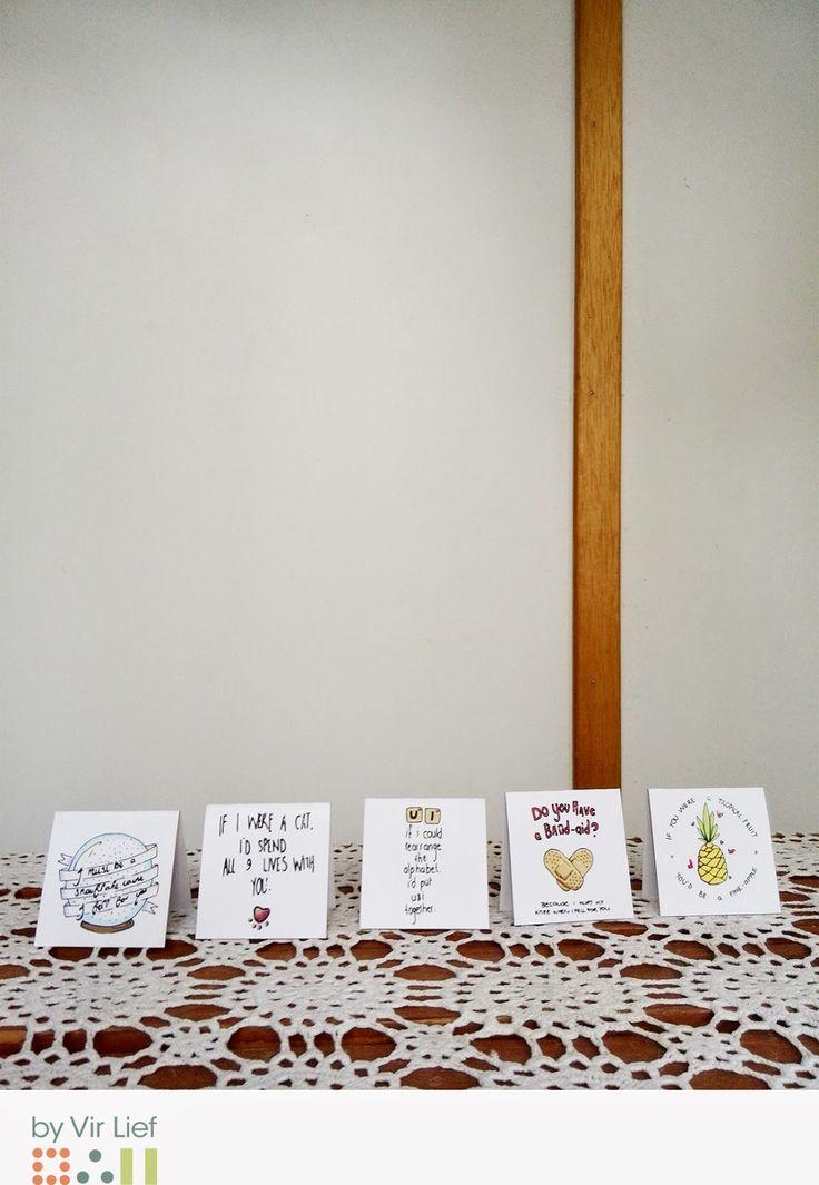 Valentine's day printables - Corny pick up lines - by Vir Lief.