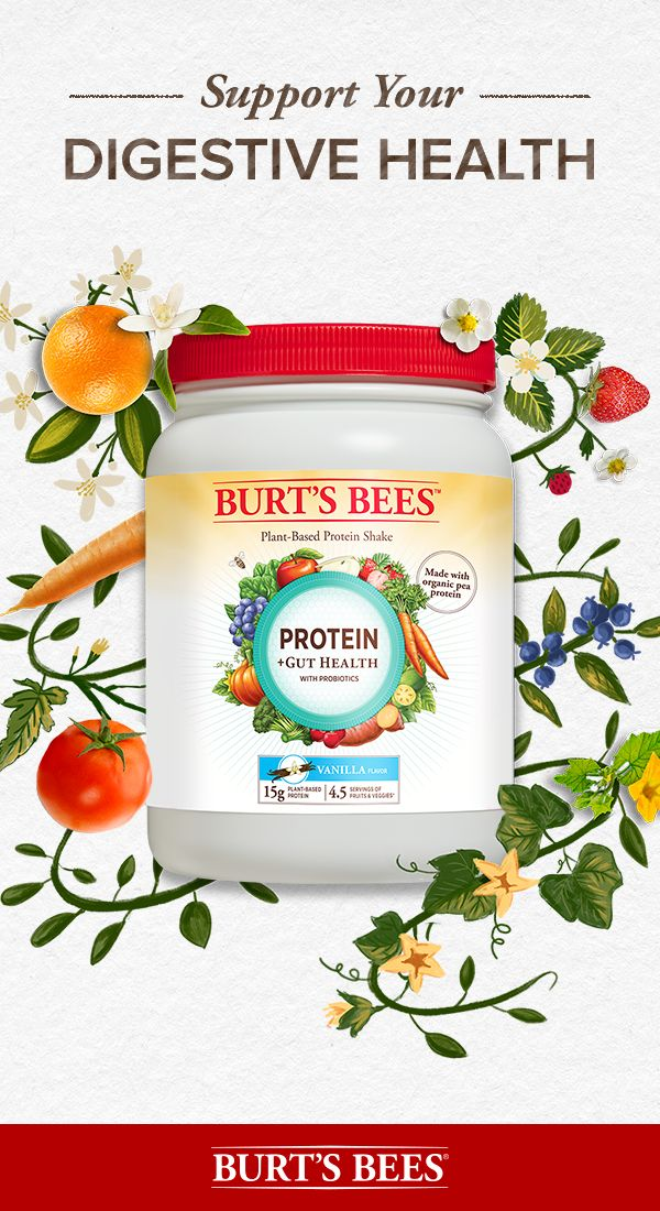 Treat your tummy with Burt's Bees Protein +Gut Health Powder. Each scoop of protein powder contains 15g of plant-based protein plus prebiotics and probiotics. Help support your digestive health as part of a balanced diet and healthy lifestyle.