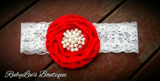 #Red #Pearl #White #Lace #Headband #RubyLee'sBoutique