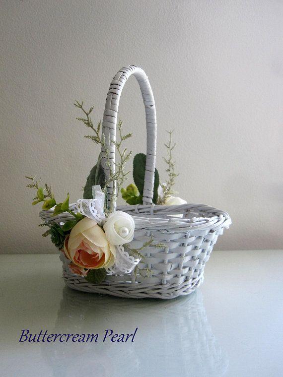 Flower Girl Basket White Wicker Basket Rustic Wedding Cottage
