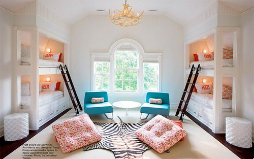 Love these bunks... clean white with pops of color... amazing room!: Kids Bedrooms, Bunk Beds, Rooms Ideas, Bunk Rooms, Guest Rooms, Bunkbeds, Girls Rooms, Built In Bunk, Kids Rooms