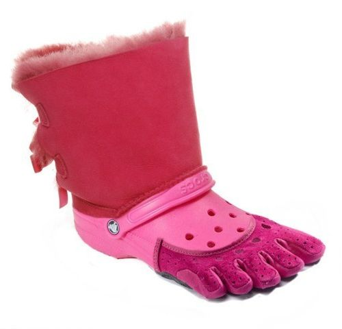 Now you can wear all of the world's ugliest shoes at the same time......this made me laugh out loudUglies Shoes, Ugliest Shoes, Ugg Boots, Laugh, Ugly Shoes, Barefoot Running, Funny, Things, Croc