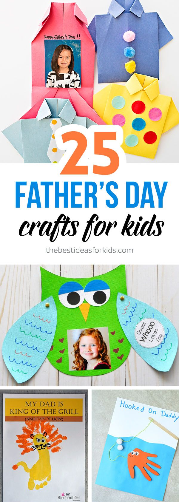 25 of the Best Handmade and Craft Ideas for Father's Day! Tie shirts, cute card ideas, salt dough keepsakes, mugs, handprints, footprints and more!