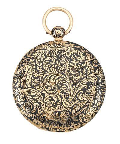 LeRoy, 114 Palais Royal. A slim gold key wind open face pocket watch with black enamel decoration Circa 1830