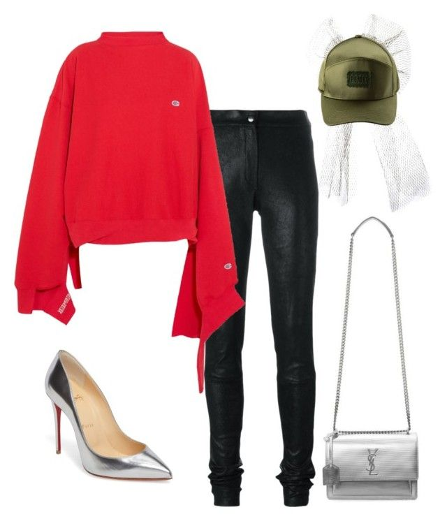 Champion Flow by mh3914rp on Polyvore featuring Vetements, Ann Demeulemeester, Christian Louboutin, Yves Saint Laurent and Puma