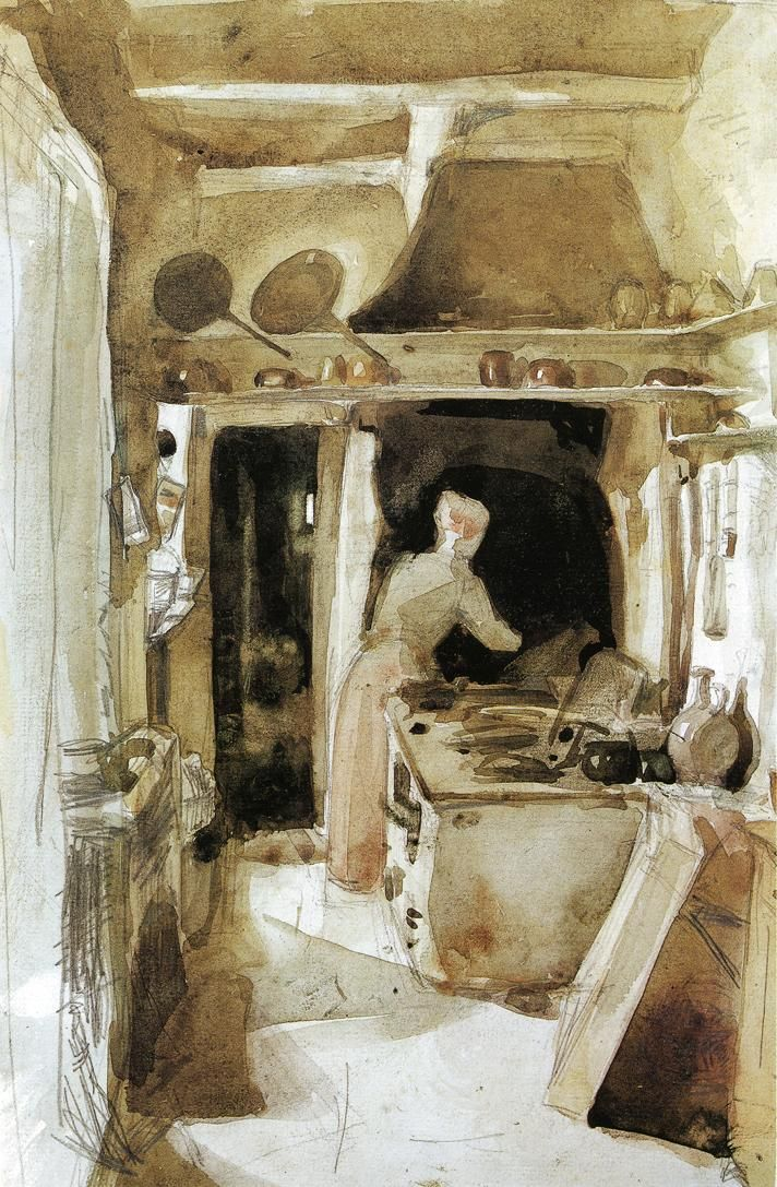 #James Whistler watercolor, The kitchen