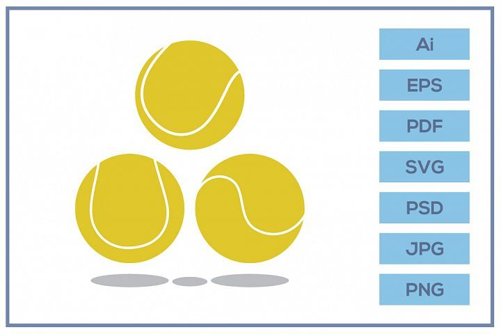 Vector Of Tennis Ball Design In 2020 Illustration Design Design Bundles