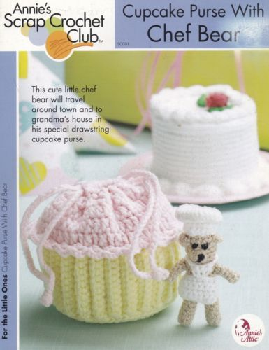 Cupcake-Purse-amp-Chef-Bear-Annie-039-s-Attic-Scrap-Crochet-Pattern-Booklet-SCC01