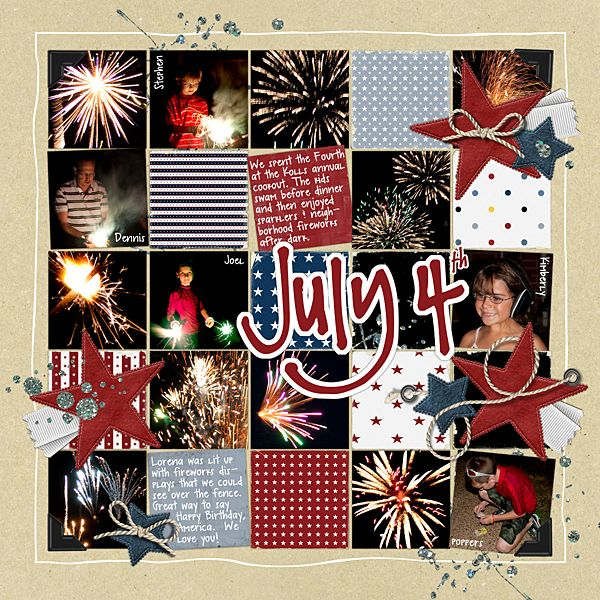 4th of July Scrapbook Page Idea