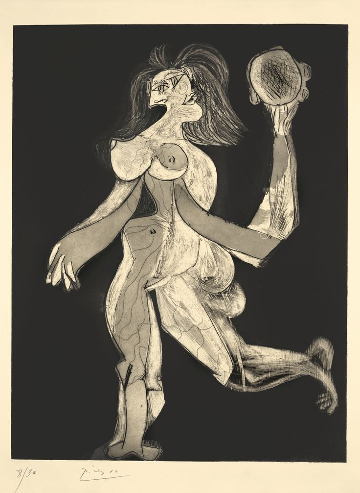 Pablo Picasso 1881 - 1973 LA FEMME AU TAMBOURIN  Aquatint with grattoir, 1939, Baer's fifth (final) state, signed in pencil, numbered 8/30, published by Galerie Louise Leiris, Paris, in 1943, on Arches wove paper, framed Plate: 26 1/4 by 20 1/4 in. 66.6 by 51.3 cm Sheet: 30 1/8 by 22 1/2 in. 76.5 by 57 cm Conceived in 1939 and printed in 1943.: