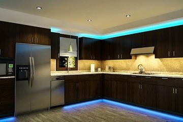 #Love this #modern #kitchen with #beautiful #LED #lights #Design #Inspiration #Brown #Silver #White #Blue #InteriorDesign #StJamesDesign