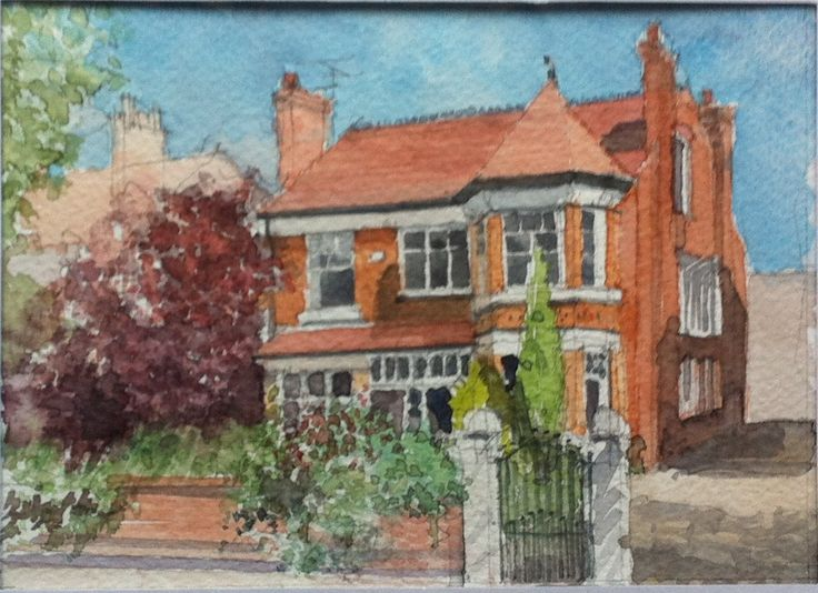 A magnificent Manchester detached house - watercolour by JustDrawMyHouse.com