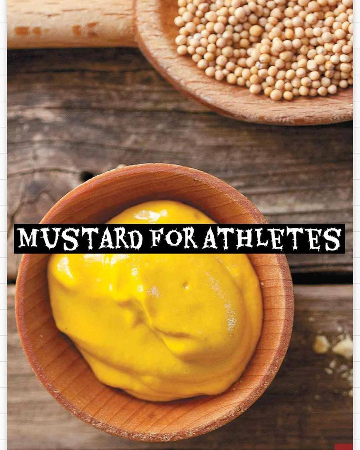 Mustard may relieve or prevent muscle cramps when taken prior to races or strenous workouts since it contains acetic acid; which helps the body to produce more acetylcholine (the neurotransmitter which stimulates the muscle to contract) . Moreover each 1 Tablespoon of mustard contains 200 mg of sodium (which is the same amount of sodium found in an 8 oz Gatorade Endurance beverage!). This further prevent or helps with cramping since the body doesnt really care where the sodium comes from…