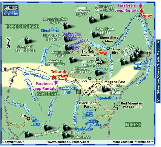Telluride Atv Jeeping Trails Map Co Colorado Vacation