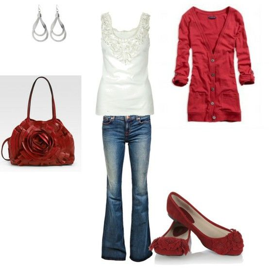 Casual: Fashion, Dreams Closet, Red Flats, Style, Clothing, Red Shoes, Cute Outfits, Red Cardigan, While