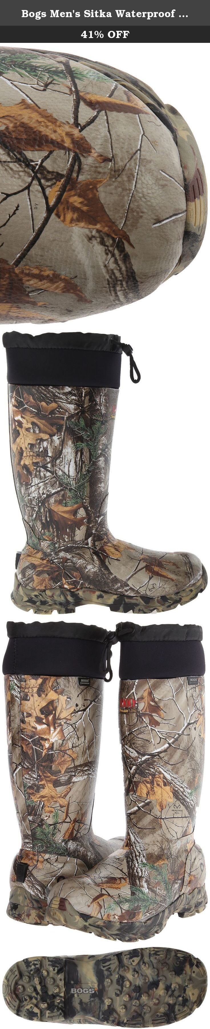 Bogs Men's Sitka Waterproof Hunting Boot,Real Tree,11 M US. Protective and comfortable, the Bogs Sitka hunting boot features 1000 grams of Thinsulate� insulation to keep feet warm during the most unforgiving days. The Sitka is available in two styles of camouflage print: RealTree� and Mossy Oak.