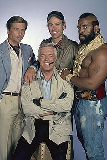The A-Team!  I still love this show (and I love it when a plan comes together, too).  With George Peppard, Dwight Schultz, Dirk Benedict and Mr. T