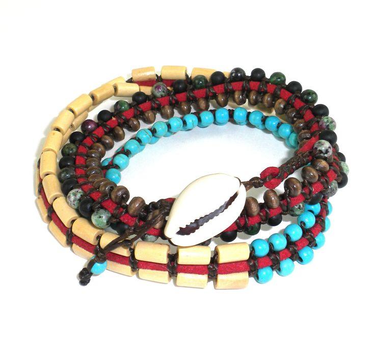 Mens Vegan Wrap Bracelet - Tribal Chief - Global Groove (J)