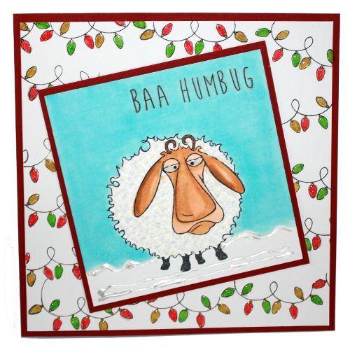 This is the Quirky Baa-Humbug set designed by Sharon Bennett for Hobby Art. Clear set contains 16 Clear stamps. This Stunning card was made by Jenny Mayes