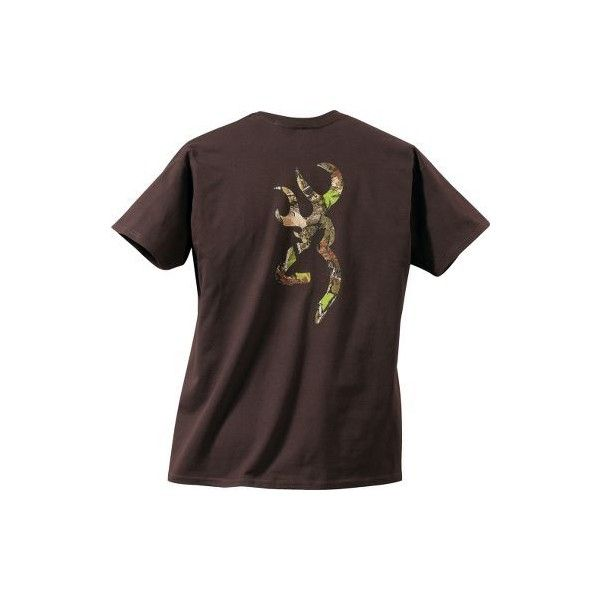Browning Camo Buckmark Short-Sleeve Tee Shirt ($20) ❤ liked on Polyvore featuring tops, t-shirts, shirts, short-sleeve shirt, short sleeve t shirt, camo shirt, camo tee and tee-shirt