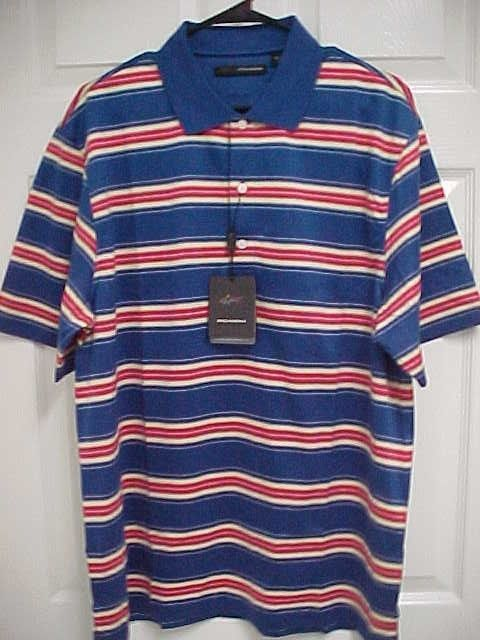 GREG NORMAN Men Ultimate Blue Striped Short Sleeve Golf Polo Shirt M New Tag $64 #GregNorman #PoloRugby