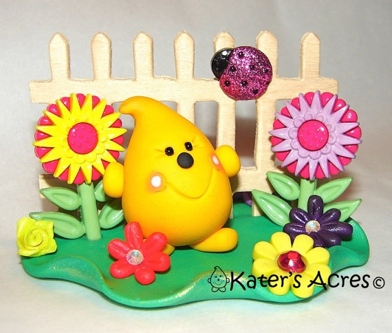 Mother's Day FLOWER GARDEN PARKER Polymer Clay by KatersAcres